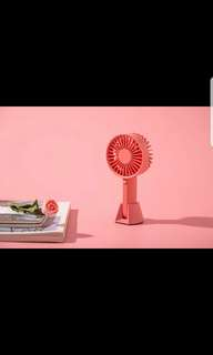 VH Rechargeable Portable Handheld USB powered cooling Fan with stand. Grey and Pink color.