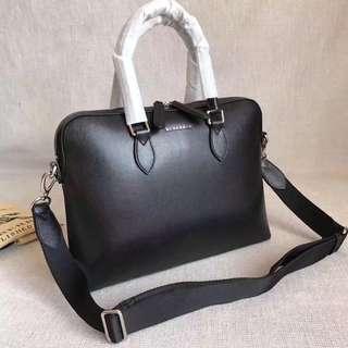 Burberry Leather Briefcase Black V2