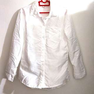 White long sleeve button up formal blouse