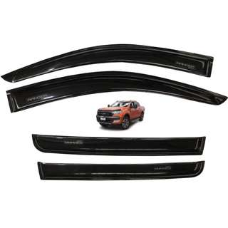 Ford Ranger 2016 to 2018 Rain Guard Window Sun Visor Aeromax Plain Black Titanium Series