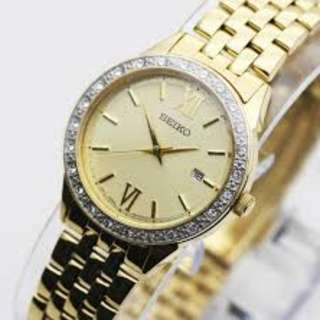 Seiko Quartz Diamond Accent Women's Gold Tone Stainless Steel Bracelet Watch