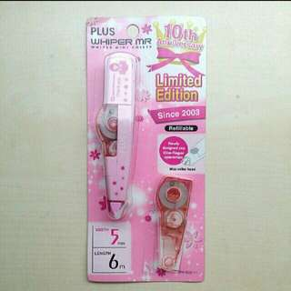Extremely Rare Limited Edition WHIPER Plus Correction Tape, 10th Anniversary One-Time Production, Pink Refill, New and Unused