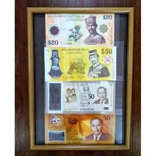 $50 Commemorative Notes Singapore and Bruneri + $20 Brunei