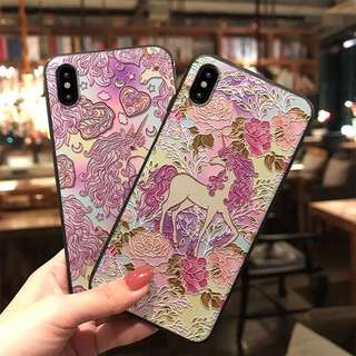 韓國直送!凹凸雕花獨角獸iPhone Case