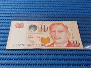 777272 Singapore Portrait Series $10 Note 1CH 777272 Nice Number Dollar Banknote Currency LHL
