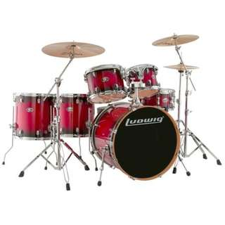 Ludwig Evolution Maple 7-Piece Drum Kit (22B+14FT+16FT+10T+12T+14S+Free 8inTom), Red Burst