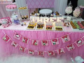 Pink Tutu Table Skirting with Pink Table Cloth, 1.8m by 0.65m by 0.75m
