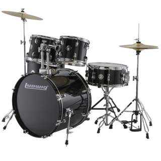 Ludwig LC17511DIR Accent Drive 5-Piece Drums Set w/Hardware+Throne+Cymbal, Black Cortex