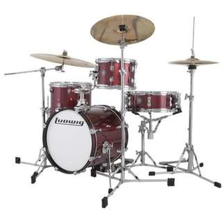 Ludwig LC179XX025DIR Breakbeat By Questlove 4-Piece Drum Kit w/ Bag, Wine Red Sparkle
