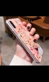 Case Iphone X gold soft case marbel marble pink