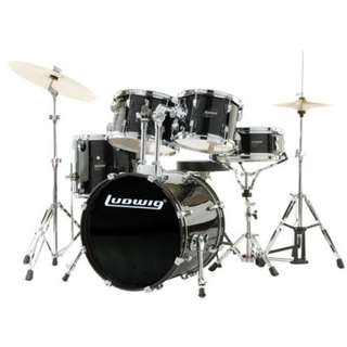 Ludwig LJR1061DIR 5-Piece Junior Drum Kit w/ Hardware+Throne+Cymbal, Black