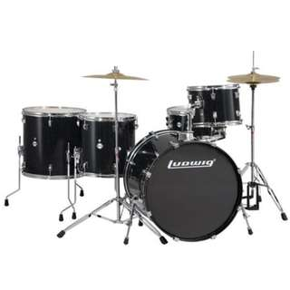 Ludwig LC17611DIR Accent Plus 5-Piece Drums Set w/Hardware+Throne+Cymbal, Black Sparkle