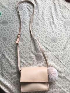 Zara 粉色細斜袋
