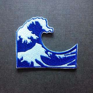 Kangawa Wave Ocean Emoji Iron On Patch