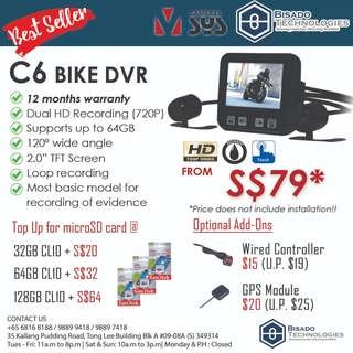 [UPGRADED!} C6 Motorcycle Camera Dual Recording