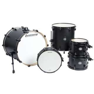 Ludwig LCB522FXSBDIR Element Birch Drive 5-Piece Drum Kit, Satin Black