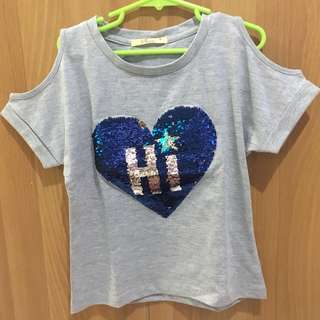 SALE:Just Tees gray blouse with 💙 'Hi'