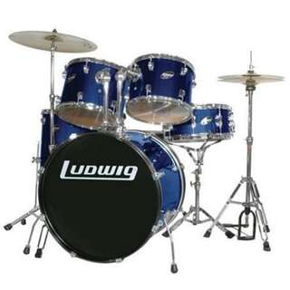 Ludwig LC1759DIR Accent Drive 5-Piece Drums Set w/Hardware+Throne+Cymbal, Deep Blue