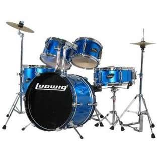 Ludwig LJR1062DIR 5-Piece Junior Drum Kit w/ Hardware+Throne+Cymbal, Blue