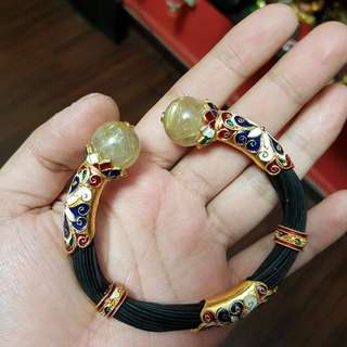 Elephant Hair Gold Bangle