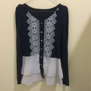 Navy white bordir