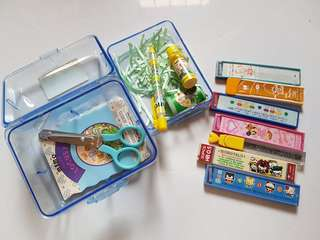 7 boxes 2b/hb leads 0.5 + stationery Carrier (lock type box) for kids
