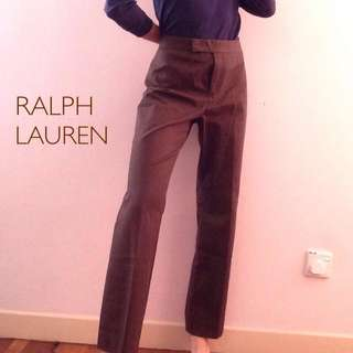 Ralph Lauren Tailored Trousers Cigarette Pants Brown Mid Waist M