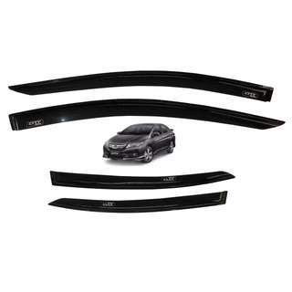 Honda City 2014 to 2018 Rain Guard Window Sun Visor Aeromax Plain Black Titanium Series