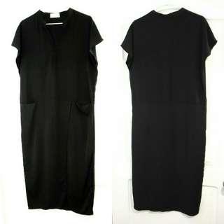 (免運)黑色V領短袖修身開叉洋裝