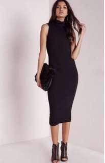Misguided bodycon black midi dress size 8