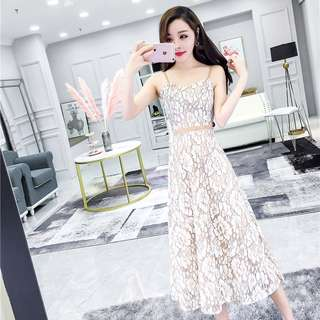 Mono-coloured Lace Floral Printed Designed Korean Style Camisole Long Dress