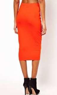 ASOS orange midi skirt size 8