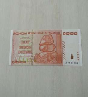 Zimbabwe 2008 50 Billion Dollars Unc Crisp Note