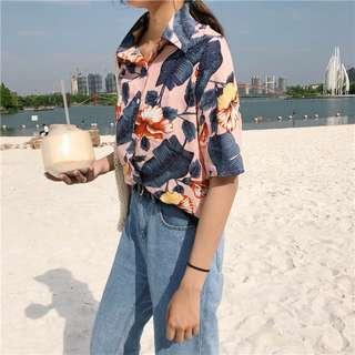 [PO] Hibiscus Print Floral Button Down