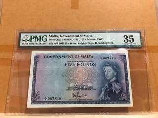 Malta 27a 5 Pounds 1949 PMG 35