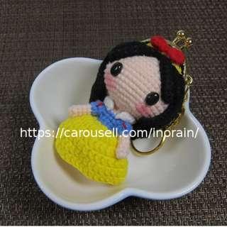 Handmade Crochet Amigurumi Doll Disney Princess Snow White Mini Metal Frame Coin Purse / Bag Swing / Plush Doll /Mascot