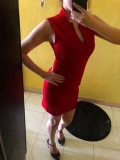 Sexy deep red body con red dress