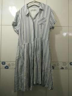 🚚 專櫃品牌 高單價 8happy 森林系女孩 日系休閒 條紋排扣長版襯衫洋裝 可當外套