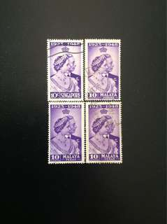 Malaya 1948 Royal Silver Wedding 4V Used (0463)