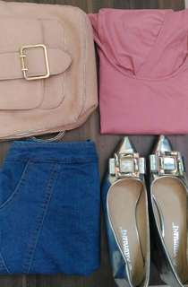 ❌REPRICED❌ Dusty pink super scooped back shirt (skirt, bag & shoes not included)