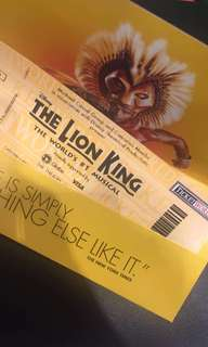TWO Lion King MAY 27,2018 (8PM) BALCONY TICKETS