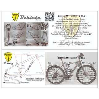 27.5 Bzkleta Titanium MTB Bike Frame