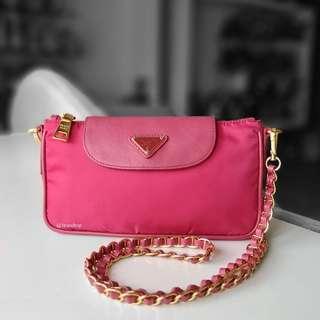 Authentic Prada Nylon Tessuto Saffiano Clutch Sling Bag BT0779