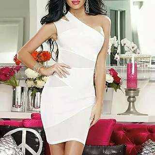 Sexy Women One Shoulder Mesh See Through Dress Cocktail Party Clubwear