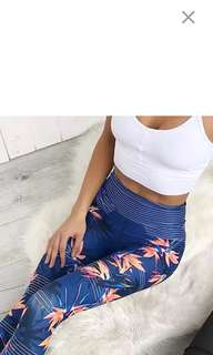Grdark blue abstract tessellated design tights compressions leggings long pants high waist for yoga jogging exercise
