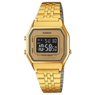LA680WGA-9B LA680WGA Brand New Casio Vintage Quartz Digital 100% Authentic Stainless Steel Strap Ladies Casual Watch w/ Warranty