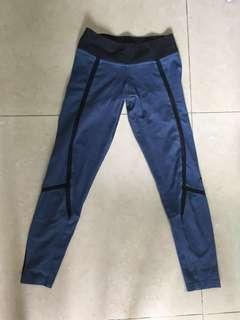 Adidas blue and black mesh panel legging (climalite)