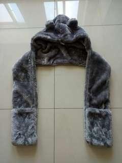 寒流必備全新厚暖帽子圍巾手套一體