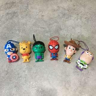 🚚 迪士尼 威漫 蜘蛛人 綠巨人 美國隊長 胡迪 巴斯光年 維尼 吊飾