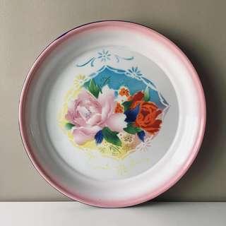 Vintage 40cm Round Enamel Tray in Floral Motif